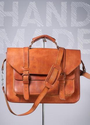 Кожаная сумка ручной работы мужской портфель растительная кожа