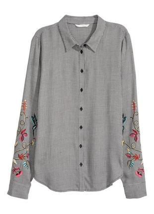 Рубашка h&m принт гусиные лапки и вышивка