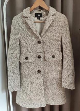 Классное шерстяное пальто h&m для девочки 11-12 лет