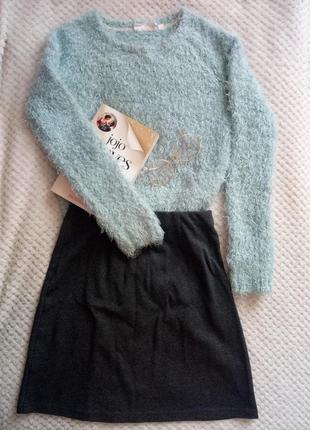 Бирюзовый укороченый свитер травка от  tammygirl