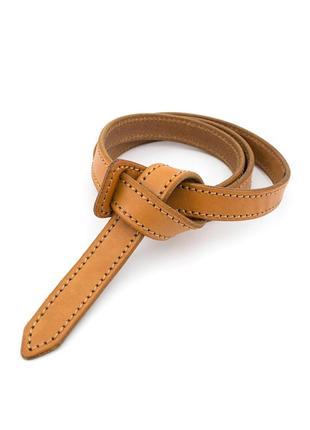 Женский кожаный ремень-узел без пряжки kb-k20 tan (2 см)