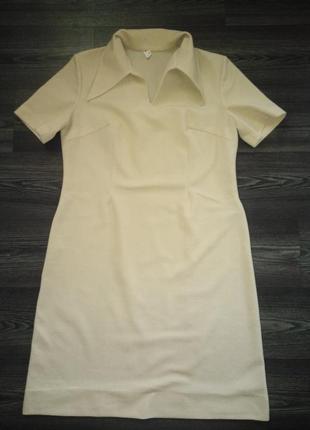 Кримпленовое платье песочного цвета 54 р.