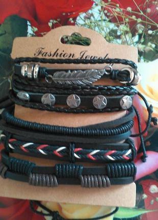 Набір браслетів шкіряних fashion jewelry (набор кожаных браслетов) unisex