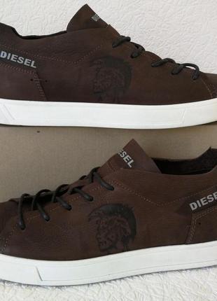 Diesel стиль! мужские коричневые кожаные кеды туфли кроссовки очень удобные!