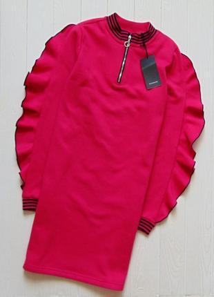 Reserved. свитшотное яркое розовое платье на 12-13лет.