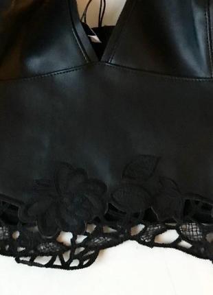 Кожаный топ с вышивкой zara / s7 фото