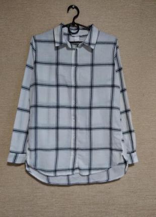 Стильная хлопковая блузка рубашка сорочка в клетку