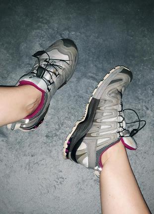 Трекинговые горные спортивные  кроссовки-ботинки хаки( оливкового) цвета salomon