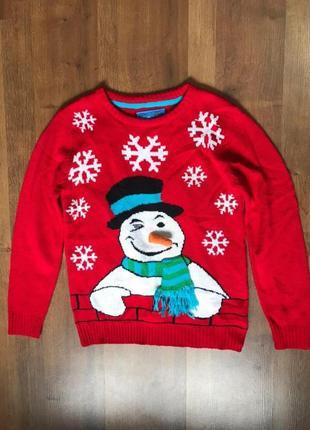 Свитер джемпер на рождество 10-11 лет снеговик