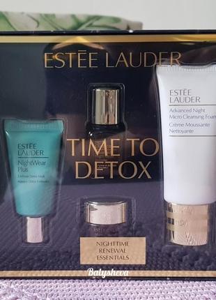 🍁sale🍁estee lauder time to detox набор новый сыворотка+крем+маска+пенка)