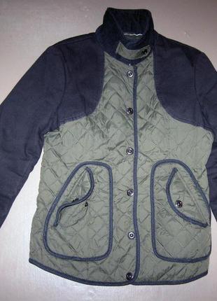 Короткая женская стеганая деми куртка next р.46 хлопковая весна осень love me forever