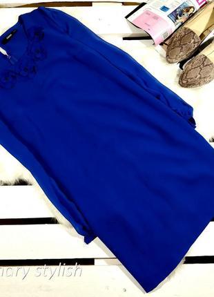Синее красивое платье с рукавами из шифона