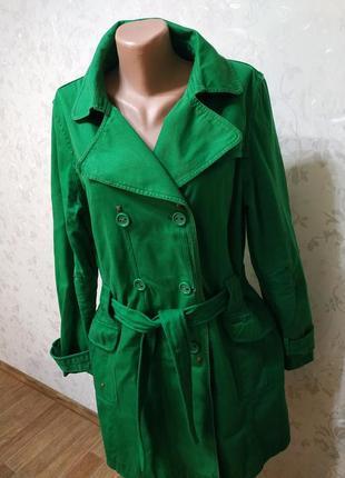 Котоновый тренч плащ пальто удлинённая куртка