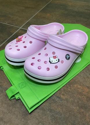 Сабо,кроксы, crocs crocband clog розовые