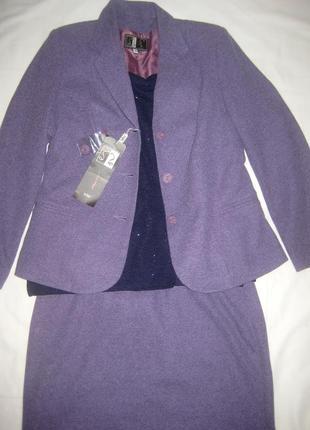 Классический трикотажный лавандовый костюм 42р (18% чистая шерсть) топ в подарок