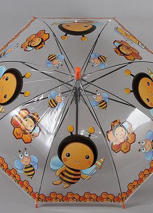 Прозрачный детский зонт трость со свистком torm 14807-705 пчелки