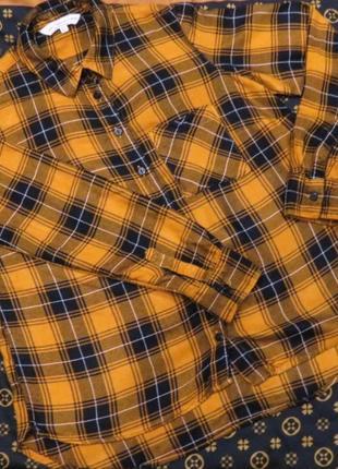 Рубашечка в клетку горчичного цвета  f&f.