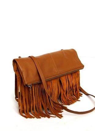 Стильная кожаная сумка через плечо  с бахромой2 фото