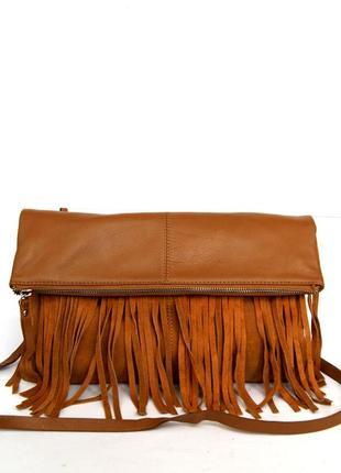 Стильная кожаная сумка через плечо  с бахромой3 фото