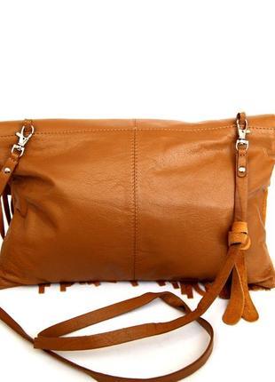 Стильная кожаная сумка через плечо  с бахромой5 фото