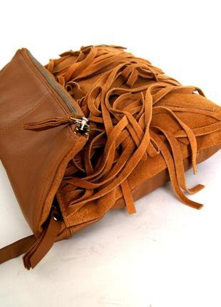 Стильная кожаная сумка через плечо  с бахромой6 фото