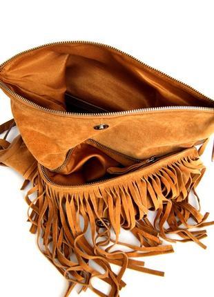 Стильная кожаная сумка через плечо  с бахромой7 фото