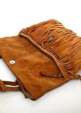Стильная кожаная сумка через плечо  с бахромой8 фото