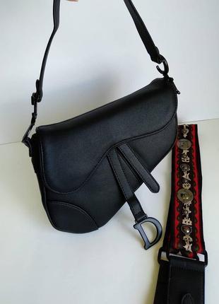 """Женская сумка """"седло"""" черная"""