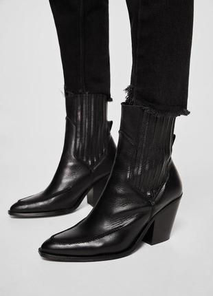 Mango кожаные ботинки казаки
