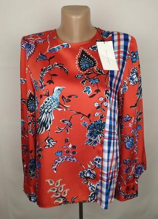 Блуза новая стильная в цветочный принт с птицами оригинал zara uk 8/36/xs