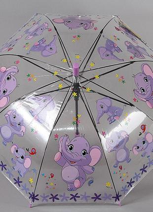 Прозрачный детский зонт трость со свистком torm сиреневые слоники