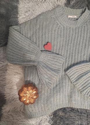 Светр свитер кофта оверсайз рукава блестки в'язаний вязанный мятный