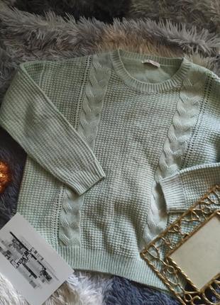 Светр свитер кофта в'язаний вязанный мятный