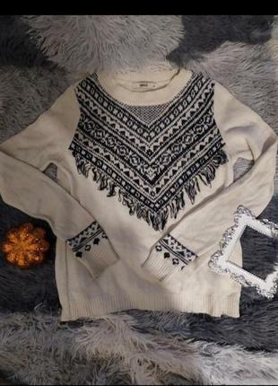 Светр свитер кофта белый этнический скандинавский принт базовый