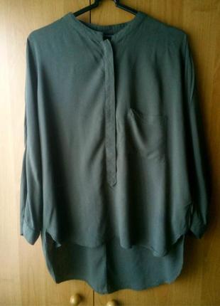 Женская блузка хаки, блуза оверсайз zara, воротник-стойка, р.m