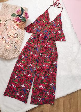 Цветастый розовый(красный) брючный комбез(комбинезон) цветы