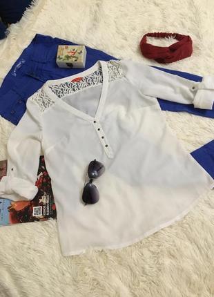 Белая тонкая рубашка блуза ostin
