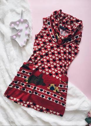 Красное теплое флис платье тедди с горлом(воротом)