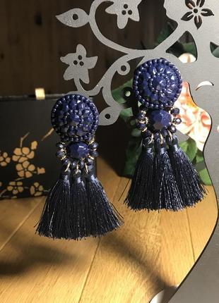 Очаровательные серьги кисточки, бахрома, бусины, темной синий глубокий, h&m, 9 см
