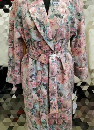 Длинное цветастое кардиган- пальто, размер 44