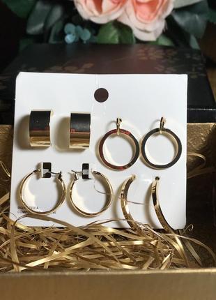 Шикарный набор серёжек колец, 4 пары, цвет золотистый, h&m