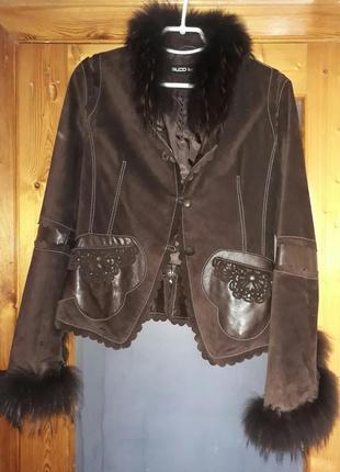 Замшевый пиджак кожа куртка