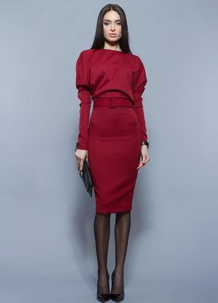 Елегантна бордова сукня bgl
