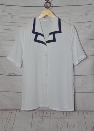 Белоснежная блуза/рубашка из плотного шифона