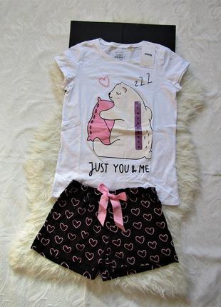 Хлопковая  пижамка c медвежонком/ костюм для дома и отдыха/новая с биркой купить цена