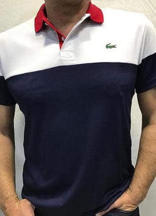 Футболка поло цветная синяя белая красная от lacoste sport с воротником рукавами стрейч