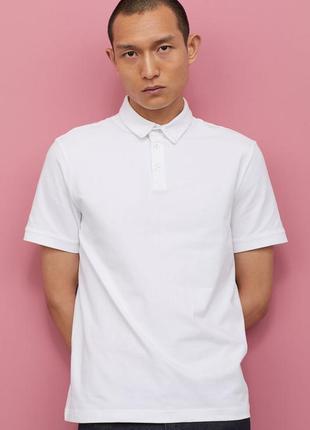 Натуральная белая футболка поло хлопок с воротником рукавами стрейч для школы