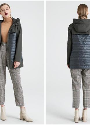 Демисезонное комбинированное пальто-куртка - цвет темный оливковый