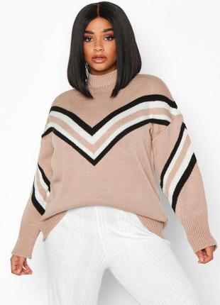 Очень крутой теплый актуальный свитер с полосами тренд батал оверсайз