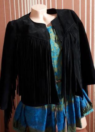 Замшевая куртка с бахромой,кожанная куртка косуха